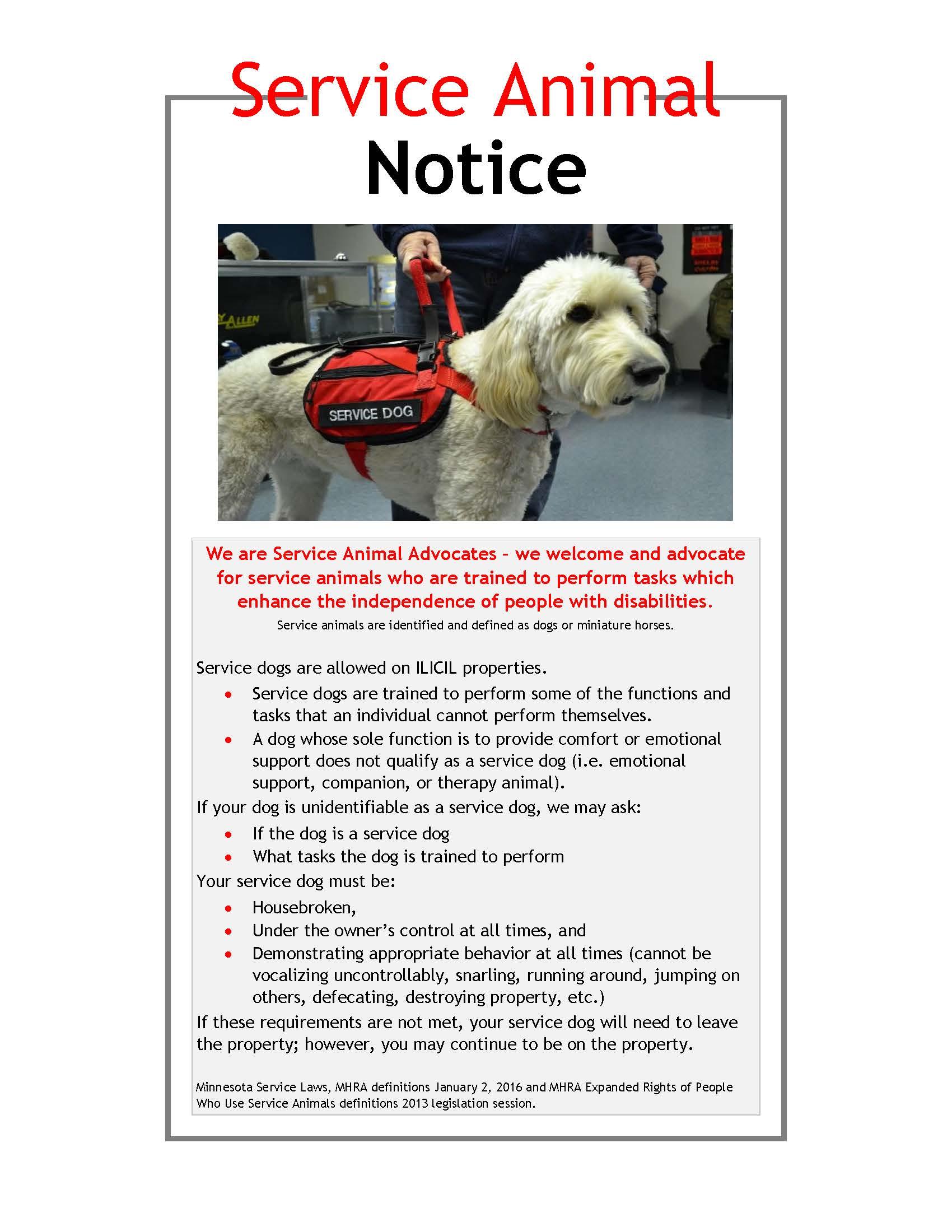 2017 Service animal notice